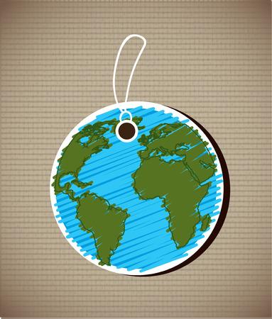 Save the planet design over beige background, vector illustration Vector
