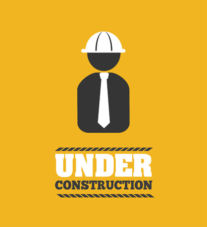 construction machine: Under construction design over yellow background, vector illustration