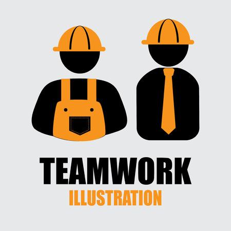 construction team: Teamwork design over gray background, vector illustration