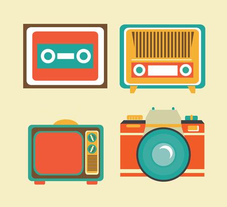 bottons: antique tv design over pink background, vector illustration Illustration