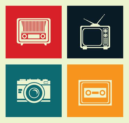 old radio: antique tv design over white gray background, vector illustration