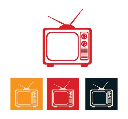 bottons: antique tv design over  white background, vector illustration