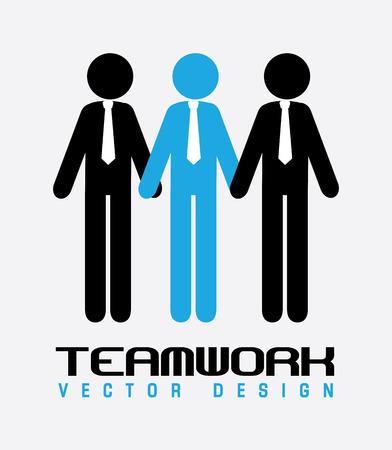 businnes: Teamwork design over gray background, vector illustration