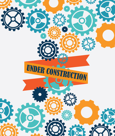 recondition: Under construction design over white background, illustration Illustration
