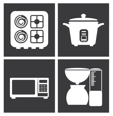 silhouttes: Kitchen design over white background, vector illustration