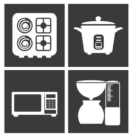 silhouttes: Kitchen design over white background, vector illustration