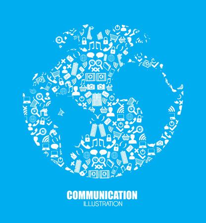 Social media design over blue background, vector illustration Ilustrace
