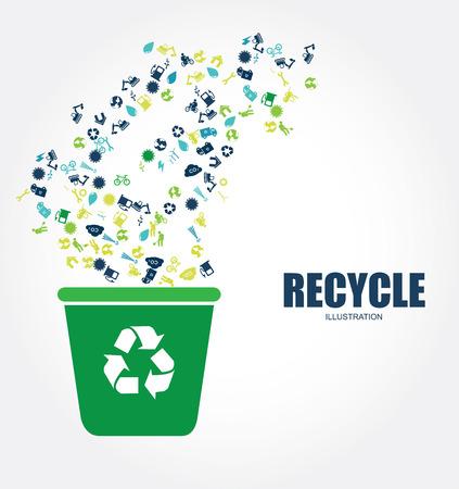 enviromental: Dise�o de reciclaje sobre fondo gris, ilustraci�n vectorial