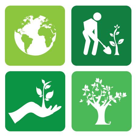 seeding: Ecology design over  background, vector illustration Illustration