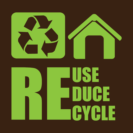 save the environment: Recycle design over brown background, vector illustration