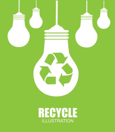 enviromental: Recycle design over green background, vector illustration