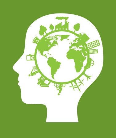 Ecología de diseño sobre fondo verde, ilustración vectorial