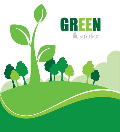 enviromental: Ecolog�a de dise�o sobre fondo de paisaje, ilustraci�n vectorial