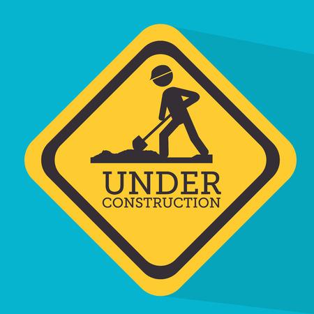 advertising construction: Under construction design over blue background, vector illustration Illustration