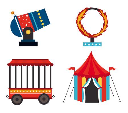 cirque: Disegno Circo su sfondo bianco, illustrazione vettoriale Vettoriali