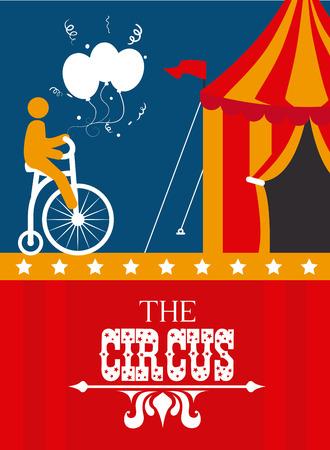 circus bike: Dise�o del circo sobre el fondo colorido, ilustraci�n vectorial