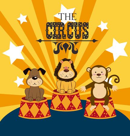 cirque: Disegno Circo su sfondo giallo, illustrazione vettoriale