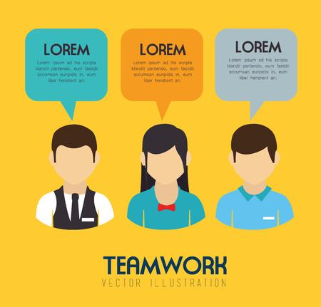 yelllow: Teamwork design over yelllow background, vector illustration