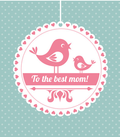 Mothers day design over dotted blue background, vector illustration