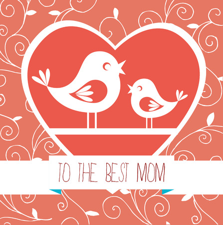 Mothers day design over red pattern background, vector illustration Vector