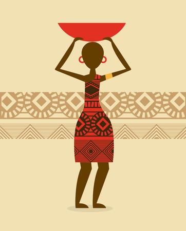 silhoette: Africa design over beige background