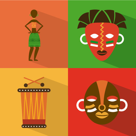 Africa design over colorful background