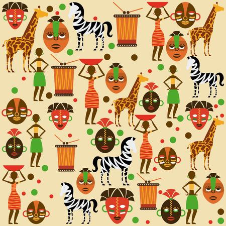 Africa design over  pattern background
