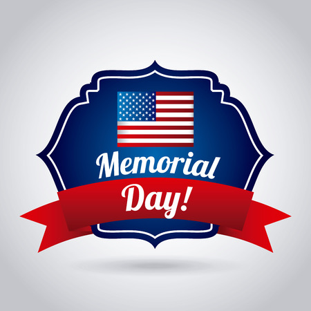 memorial day: Memorial Day design over gray background
