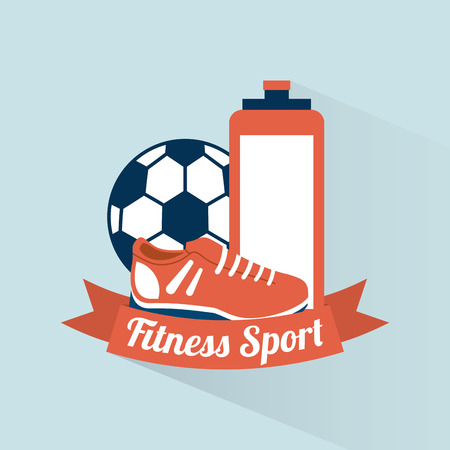 Fitness and sports design over blue background