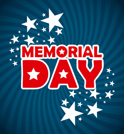 memorial day: Memorial Day design over blue background Illustration