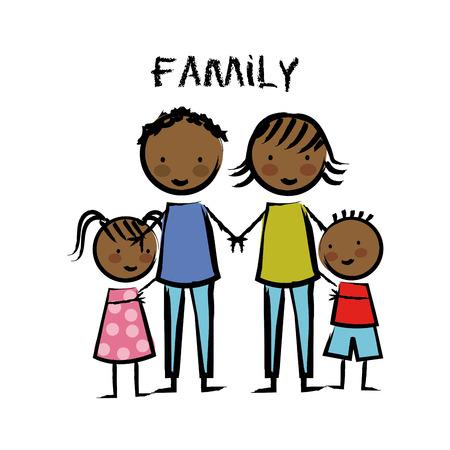 hapiness: Family design over white background, vector illustration Illustration