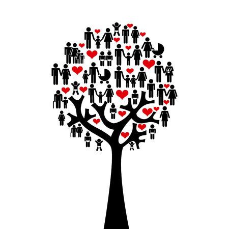 поколение: Семья дизайн на белом фоне
