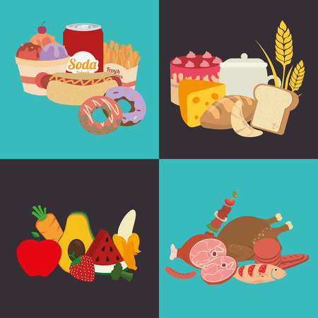 categories: Healthy food design over blue and black background
