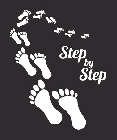 step by step design over black background