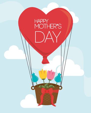 mothers: Mothers day over sky landscape background Illustration
