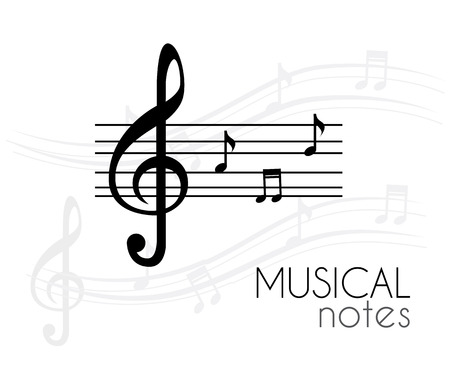 pentagramma musicale: Design di musica su sfondo bianco Vettoriali