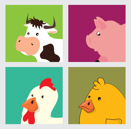 farm animals design over white background Vector