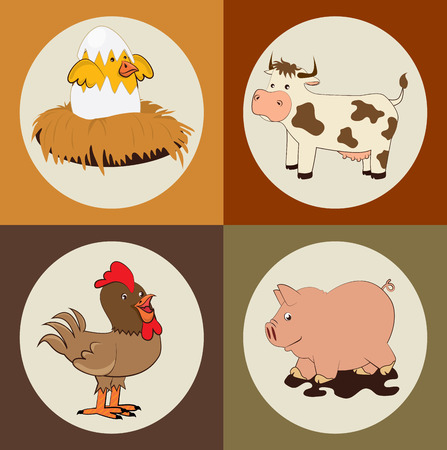 farm animals design over colorful white background Vector