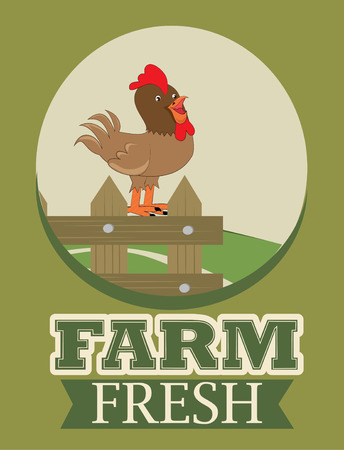 cackle: Farm design over green background Illustration