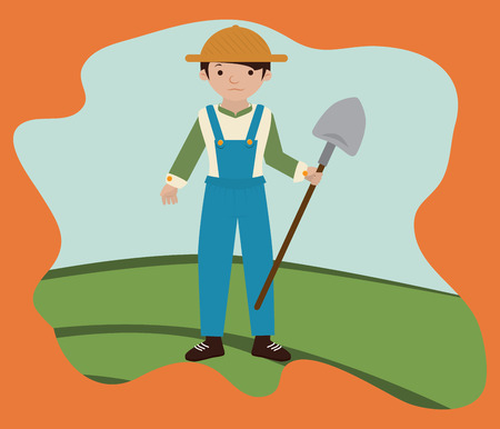 Farm design over orange background Vector