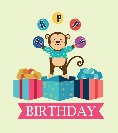 Happy birthday design over beige background, vector illustration Illustration