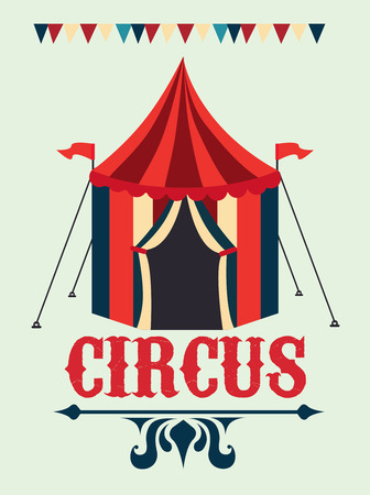 cartoon carnival: Circus design over beige background, vector illustration