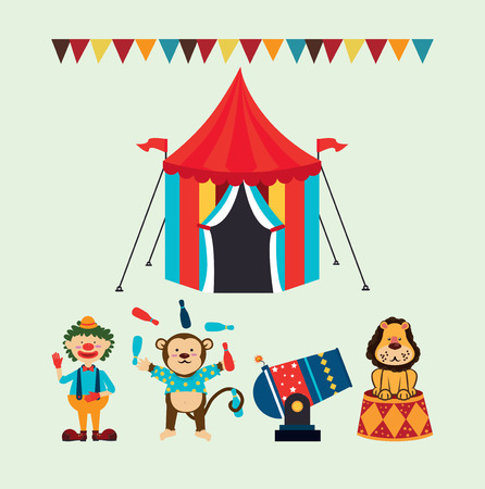 Circus design over green background Vector