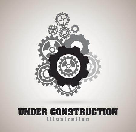 Under construction design over gray background