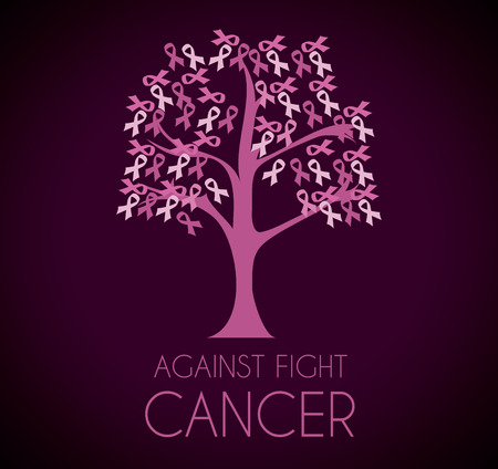 Cancer campaign design over purple background Vector