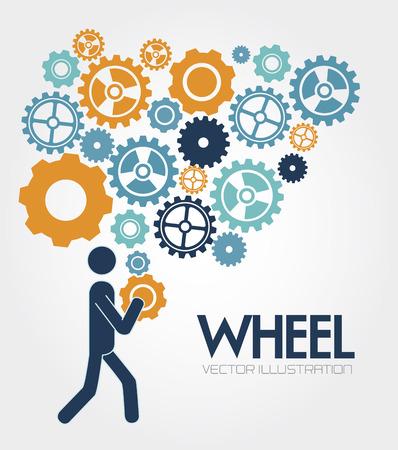 Gears design over white background, vector illustration