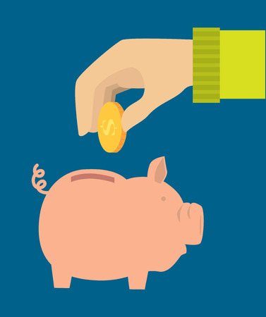 Saving money design over blue background, vector illustration Vector