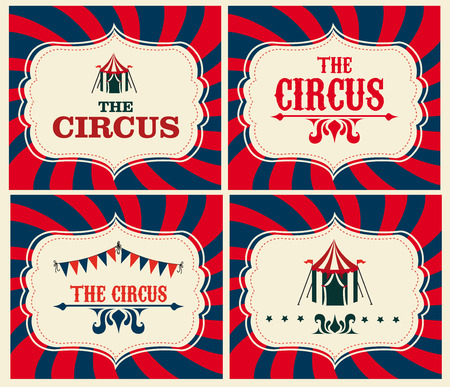 cirque: Progettazione Circo su sfondo beige, illustrazione vettoriale