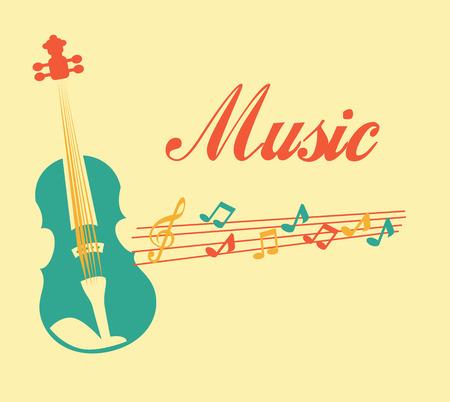 pentagramma musicale: Design di musica su sfondo beige, illustrazione vettoriale