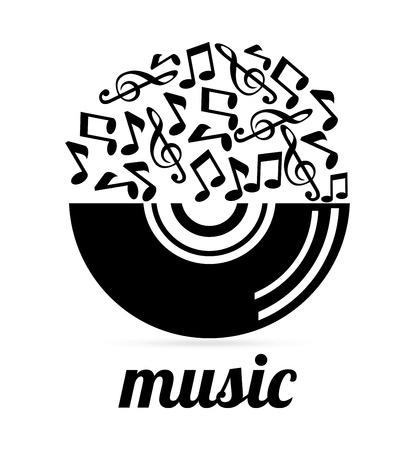 музыка: Музыка дизайн на сером фоне, векторная иллюстрация Иллюстрация